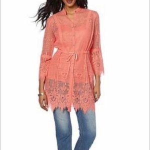 Colleen Lopez Coral Lace Tunic/Topper 1X